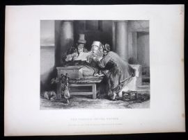 After David Wilkie C1870 Antique Print. The Turkish Letter Writer